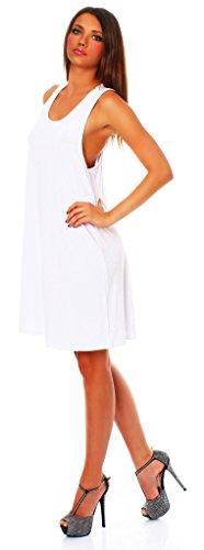 Wil Mississhop Damen Sommer Kleid Minikleid Top Tunika Shirt Weiß S - 3