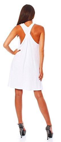 Wil Mississhop Damen Sommer Kleid Minikleid Top Tunika Shirt Weiß S - 1