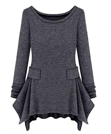 Womdee(TM) Damen Modern U Ausschnitt Langarm Strick Freizeit Kleid - 1