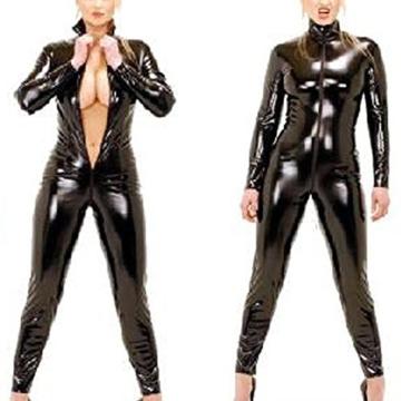 Wonder Pretty Damen Catsuit Catwoman Kostüme Jumpsuits Overall PVC Wet Look Leder Clubwear Kleid Bodysuit Mit Loch und Reißverschluss - 2