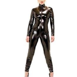 Wonder Pretty Damen Catsuit Catwoman Kostüme Jumpsuits Overall PVC Wet Look Leder Clubwear Kleid Bodysuit Mit Loch und Reißverschluss - 1