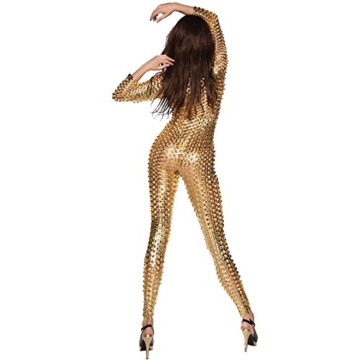 Wonder Pretty Damen Catsuit Leder Jumpsuit Overall Catwoman Kostüme Latex Wetlook Sexy Dessous Ouvert Body Clubwear Gold L - 2