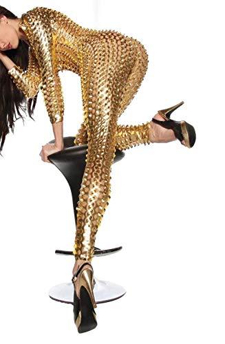 Wonder Pretty Damen Catsuit Leder Jumpsuit Overall Catwoman Kostüme Latex Wetlook Sexy Dessous Ouvert Body Clubwear Gold L - 3