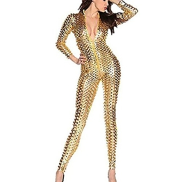 Wonder Pretty Damen Catsuit Leder Jumpsuit Overall Catwoman Kostüme Latex Wetlook Sexy Dessous Ouvert Body Clubwear Gold L - 1
