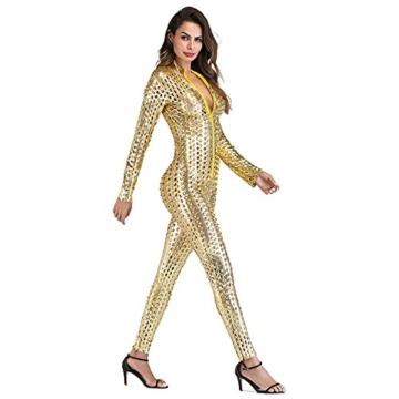Wonder Pretty Damen Catsuit Leder Jumpsuit Overall Catwoman Kostüme Latex Wetlook Sexy Dessous Ouvert Body Clubwear Gold L - 6