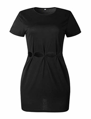 Woweal Minikleid Damen Sommer Mode T-Shirt-Kleid Einfarbig Kurzarm Kleider Tunikakleid Partykleid Kleid Dress (Schwarz, XL) - 2