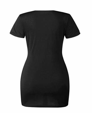 Woweal Minikleid Damen Sommer Mode T-Shirt-Kleid Einfarbig Kurzarm Kleider Tunikakleid Partykleid Kleid Dress (Schwarz, XL) - 3