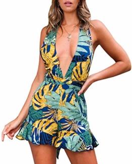 Woweal Sommer Damen Jumpsuits Sexy Tief V Ausschnitt Schlinge Einteiler Playsuit Fashion Druck Rückenfrei Bandage Overall Kurze-Hosen Rompers (L, Blue) - 1