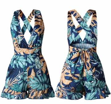 Woweal Sommer Damen Jumpsuits Sexy Tief V Ausschnitt Schlinge Einteiler Playsuit Fashion Druck Rückenfrei Bandage Overall Kurze-Hosen Rompers (L, Blue) - 5