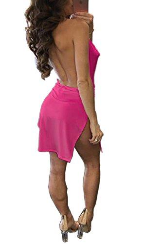 Woweal Sommerkleid Damen Reizvolle ärmellos Tief V Ausschnitt Bodycon Minikleid Partykleid Fashion Rückenfrei Slits Hoher Kurz Kleider Trägerkleid Abendkleider, XL, Rose Rot - 2