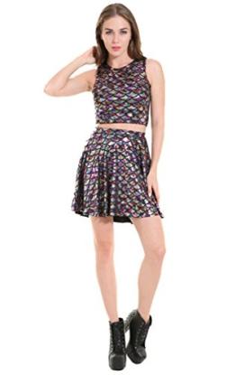 XueXian(TM) Damen Sommer Ärmellos Schlank Fischschuppen Kleid Set(China L/Brust:80cm,Mehrfarbig) - 1
