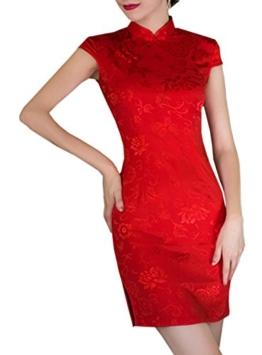 XueXian(TM) Damen Sommer Chinesisch Qipao Mini Etuikleid mit Stehkragen Rot (EU 36 China/M) - 1