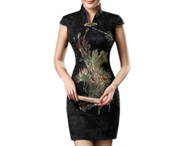 XueXian(TM) Damen Sommer Kleid Mini Qipao mit V-Ausschnitt in DREI Farben (EU 38-40 China/XL, Schwarz) - 1