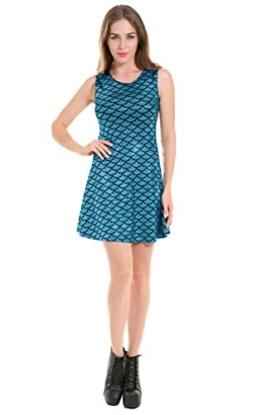 XueXian(TM) Damen Sommer Kleid Schlank Fischschuppen-Kleid(Blau) - 1