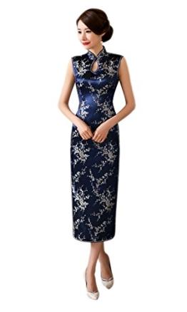 XueXian(TM) Damen Sommer Kleid Tropfkragen Brokat Lang Qipao(China L/EU 38) - 1