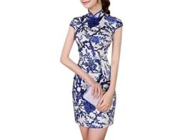 XueXian(TM) Damen Sommer Mini Kleid Chinesisch Qipao Blau mit Blumen Mustern (EU 32-34 China/S) - 1