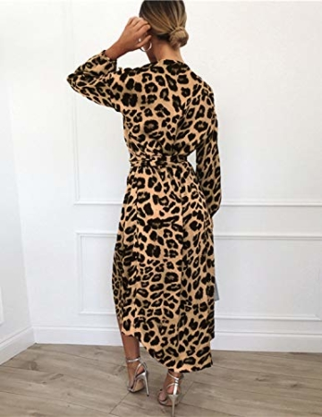 XXIE Damen Kleider Langarm Casual V-Ausschnitt Leopard Blumen mit Gürtel Strandkleid Abendkleid Lange Maxikleider Braun Leopard S - 2