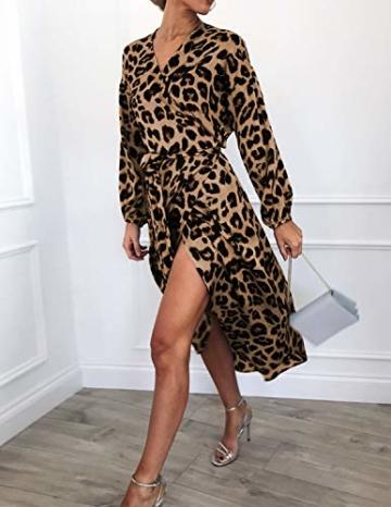 XXIE Damen Kleider Langarm Casual V-Ausschnitt Leopard Blumen mit G/ürtel Strandkleid Abendkleid Lange Maxikleider