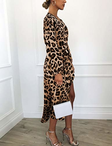 XXIE Damen Kleider Langarm Casual V-Ausschnitt Leopard Blumen mit Gürtel Strandkleid Abendkleid Lange Maxikleider Braun Leopard S - 4