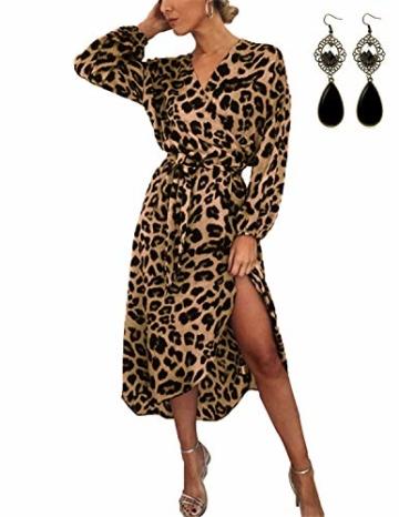 XXIE Damen Kleider Langarm Casual V-Ausschnitt Leopard Blumen mit Gürtel Strandkleid Abendkleid Lange Maxikleider Braun Leopard S - 1