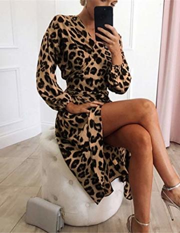 XXIE Damen Kleider Langarm Casual V-Ausschnitt Leopard Blumen mit Gürtel Strandkleid Abendkleid Lange Maxikleider Braun Leopard S - 5