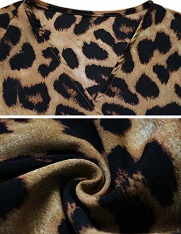 XXIE Damen Kleider Langarm Casual V-Ausschnitt Leopard Blumen mit Gürtel Strandkleid Abendkleid Lange Maxikleider Braun Leopard S - 6