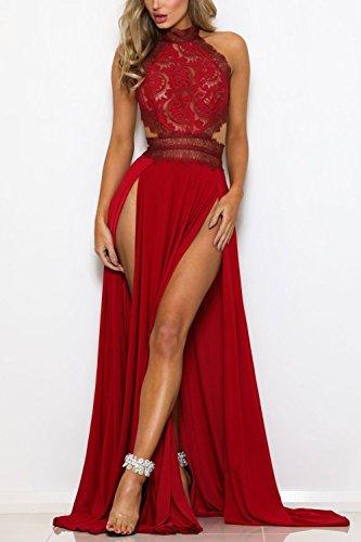 YACUN Damen Lang Kleid Sommer Maxi Hoch Split Spitzen Abend Rückenfrei Party Kleid Rot S - 3