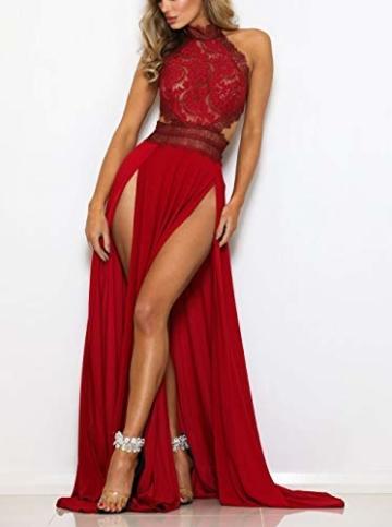 YACUN Damen Lang Kleid Sommer Maxi Hoch Split Spitzen Abend Rückenfrei Party Kleid Rot S - 5