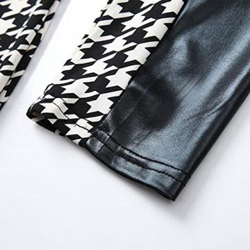 Yantu Frauen Sexy Splice Leder Langarm Kristall Bodycon Schlank Party-Kleid (M) - 3