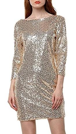 YaoDgFa Damen Paillettenkleid Minikleid Cocktailkleid Abendkleid Partykleider Etui Kleid mit Pailletten Langarm Rückenfrei Kurz, L, Gold - 1
