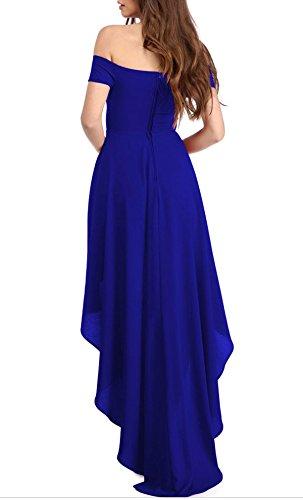 YaoDgFa Sexy Damen Kleider Abendkleid Cocktailkleid Partykleid Kleid Ballkleid Knielang Festlich Kurzarm Off Schulter Lang Maxi Asymmetrisch Blau EU 42/44 -