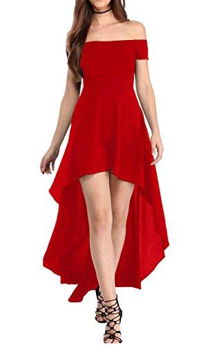 YaoDgFa Sexy Damen Kleider Abendkleid Cocktailkleid Partykleid Kleid Ballkleid Knielang Festlich Kurzarm Off Schulter Lang Maxi Asymmetrisch Rot L - 1