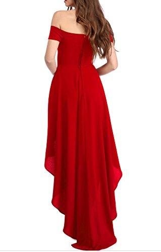 YaoDgFa Sexy Damen Kleider Abendkleid Cocktailkleid Partykleid Kleid Ballkleid Knielang Festlich Kurzarm Off Schulter Lang Maxi Asymmetrisch Rot L - 2