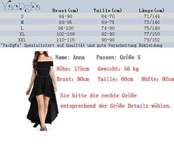 YaoDgFa Sexy Damen Kleider Abendkleid Cocktailkleid Partykleid Kleid Ballkleid Knielang Festlich Kurzarm Off Schulter Lang Maxi Asymmetrisch Rot L - 3