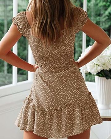 Ybenlover Damen Blumen Sommerkleid High Waist Volant Kleid Vintage Minikleid Strandkleid, Khaki, M - 2