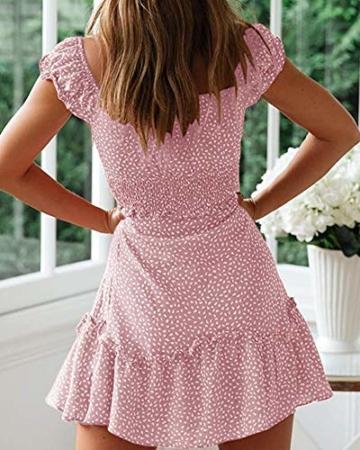 Ybenlover Damen Blumen Sommerkleid High Waist Volant Kleid Vintage Minikleid Strandkleid, Rosa, S - 2
