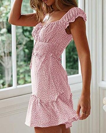 Ybenlover Damen Blumen Sommerkleid High Waist Volant Kleid Vintage Minikleid Strandkleid, Rosa, S - 3