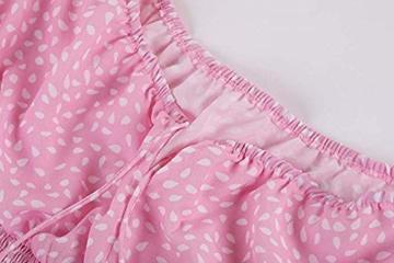 Ybenlover Damen Blumen Sommerkleid High Waist Volant Kleid Vintage Minikleid Strandkleid, Rosa, S - 5
