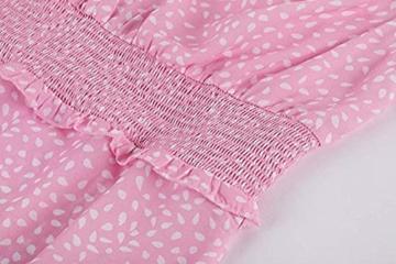 Ybenlover Damen Blumen Sommerkleid High Waist Volant Kleid Vintage Minikleid Strandkleid, Rosa, S - 6