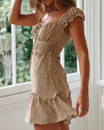 Ybenlover Damen Blumen Sommerkleid High Waist Volant Kleid Vintage Minikleid Strandkleid, Khaki, M - 3