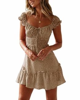 Ybenlover Damen Blumen Sommerkleid High Waist Volant Kleid Vintage Minikleid Strandkleid, Khaki, M - 1