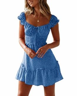 Ybenlover Damen Blumen Sommerkleid High Waist Volant Kleid Vintage Minikleid Strandkleid, Blau, L - 1