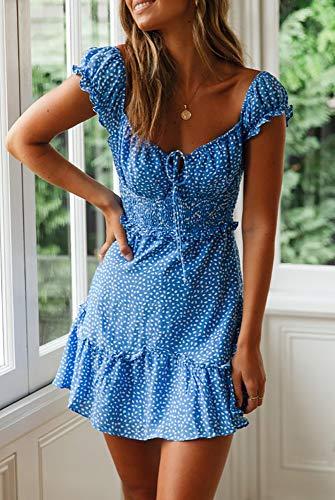 Ybenlover Damen Blumen Sommerkleid High Waist Volant Kleid Vintage Minikleid Strandkleid, Blau, L - 4