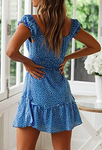 Ybenlover Damen Blumen Sommerkleid High Waist Volant Kleid Vintage Minikleid Strandkleid, Blau, L - 5