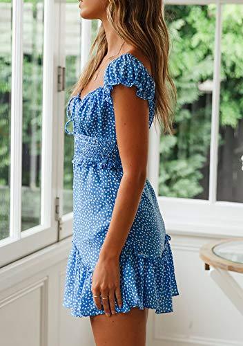 Ybenlover Damen Blumen Sommerkleid High Waist Volant Kleid Vintage Minikleid Strandkleid, Blau, L - 6