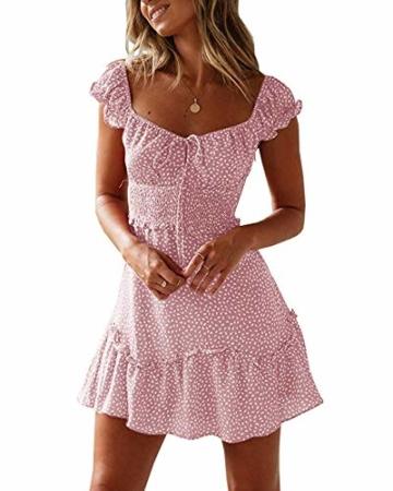 Ybenlover Damen Blumen Sommerkleid High Waist Volant Kleid Vintage Minikleid Strandkleid, Rosa, S - 1