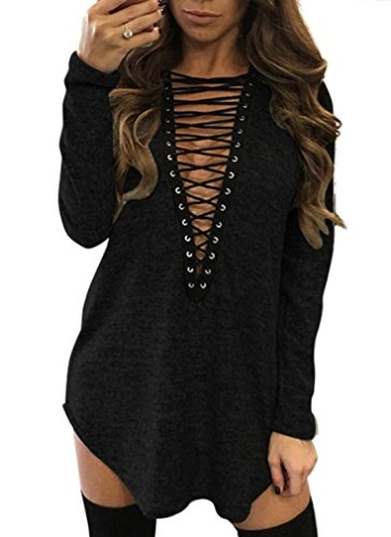 Yidarton Damen Minikleid Lace-up Lange Ärmel Tiefe V-Ausschnitt Mini Hemdkleid Tops Bluse (X-Large, Schwarz) - 1