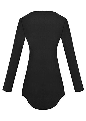 Yidarton Damen Minikleid Lace-up Lange Ärmel Tiefe V-Ausschnitt Mini Hemdkleid Tops Bluse (X-Large, Schwarz) - 4