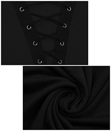 Yidarton Damen Minikleid Lace-up Lange Ärmel Tiefe V-Ausschnitt Mini Hemdkleid Tops Bluse (X-Large, Schwarz) - 5