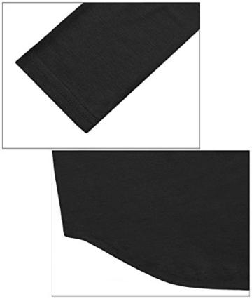 Yidarton Damen Minikleid Lace-up Lange Ärmel Tiefe V-Ausschnitt Mini Hemdkleid Tops Bluse (X-Large, Schwarz) - 6